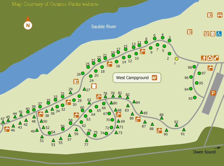 Sauble Falls Campground Map Sauble Falls Ontario Parks
