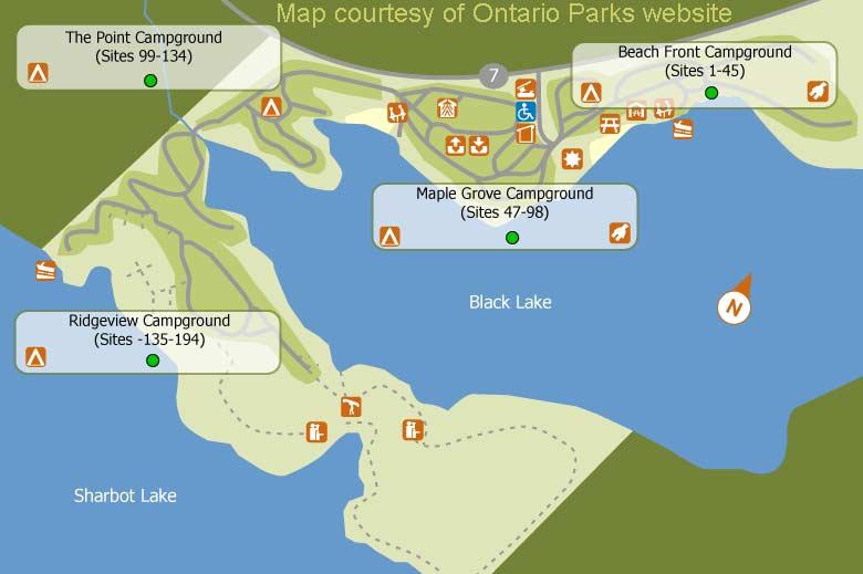 Sharbot Lake Ontario Parks Camping - Ontario fishing lakes maps