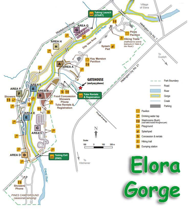 Elora Ontario Map Elora Gorge Campsite Pictures